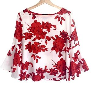 ANTHRO W5 Floral 3/4 Bell Sleeve Christmas Top